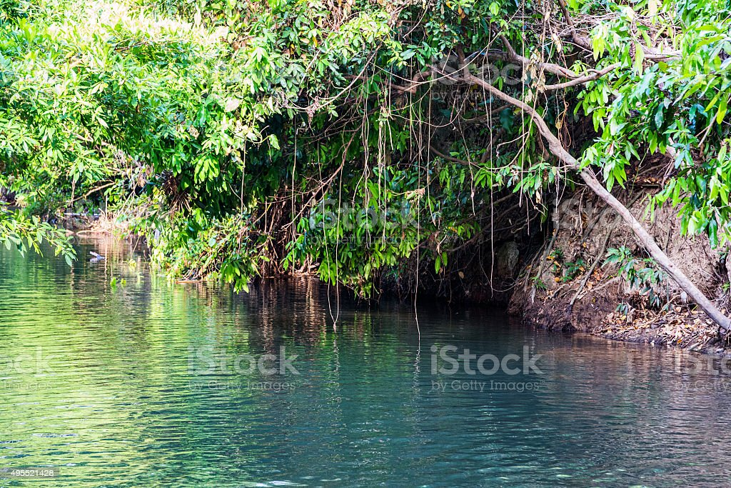 Waterfall Hot Spring river stock photo