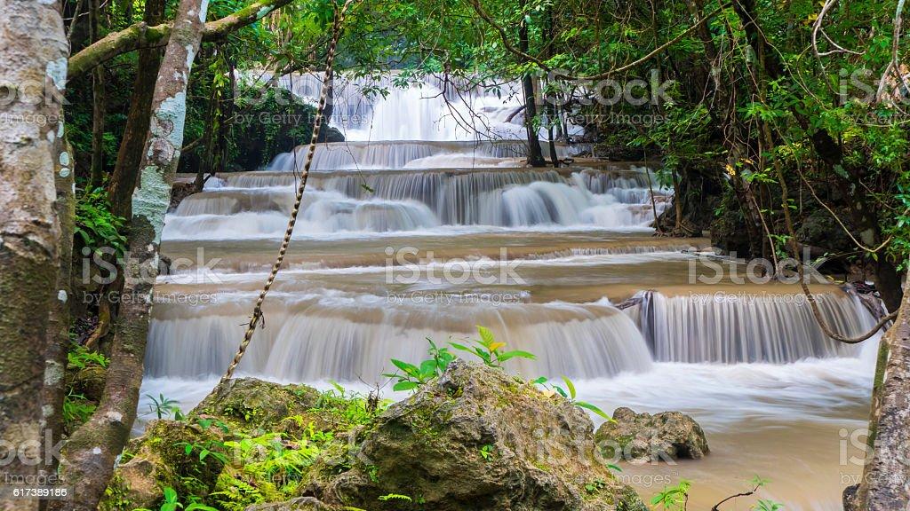 waterfall huay mae khamin stock photo