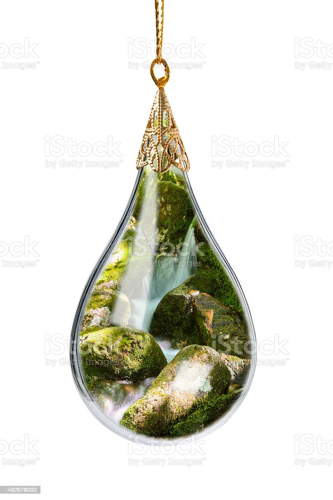 Waterfall In a Christmas Ornament stock photo