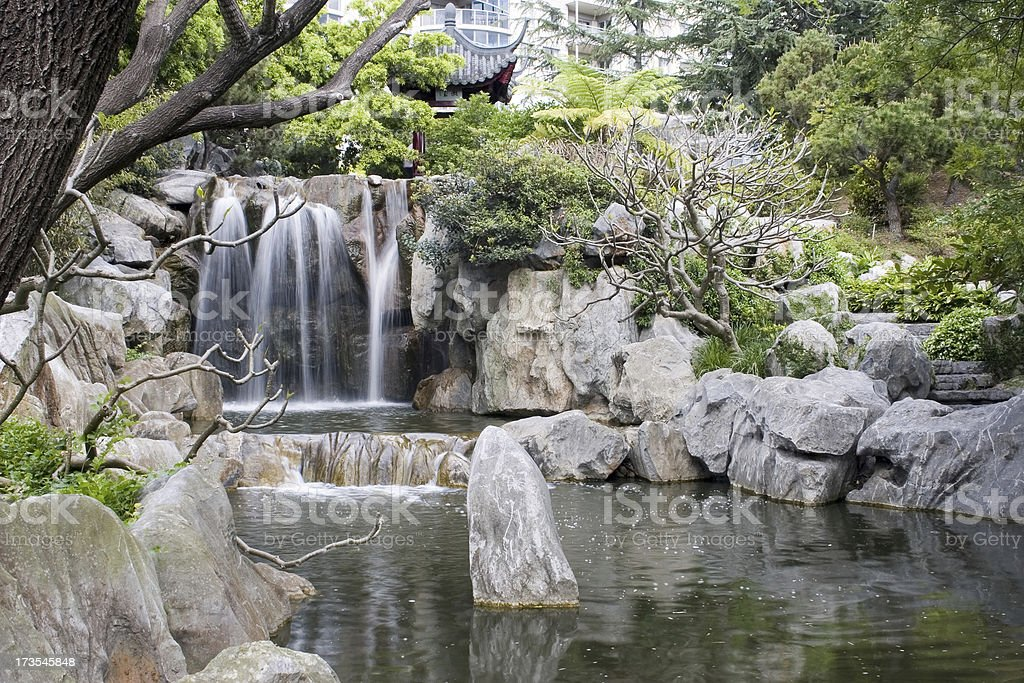 Waterfall in a Garden royalty-free stock photo
