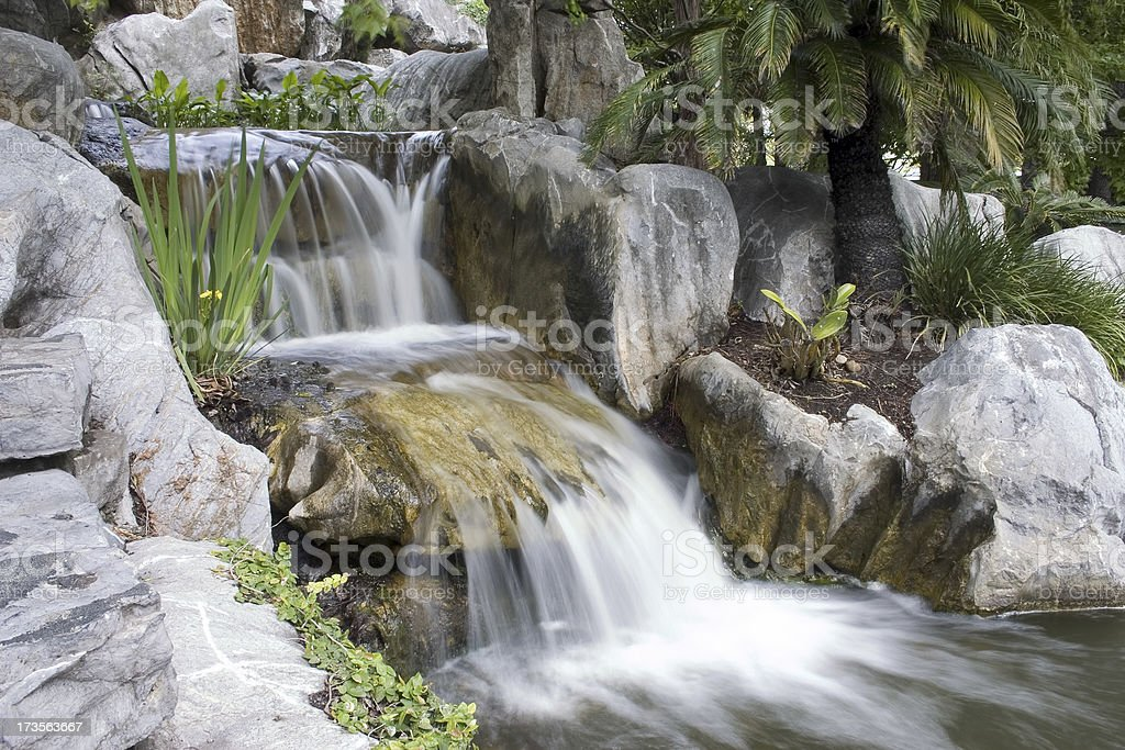 Waterfall in a Garden. royalty-free stock photo