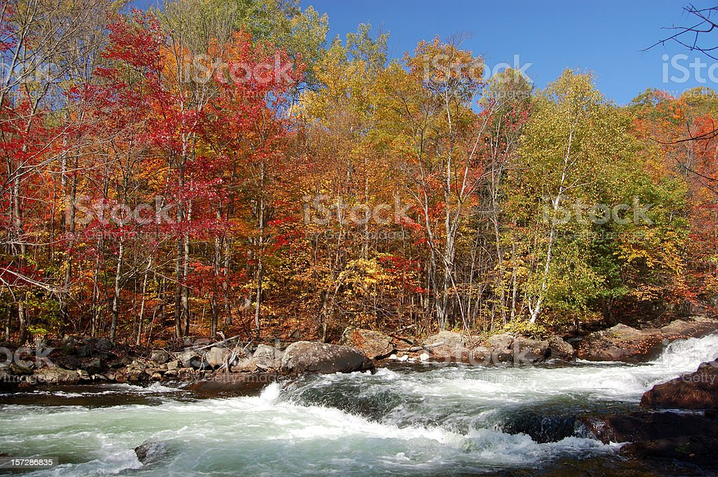 Waterfall in Autumn royalty-free stock photo