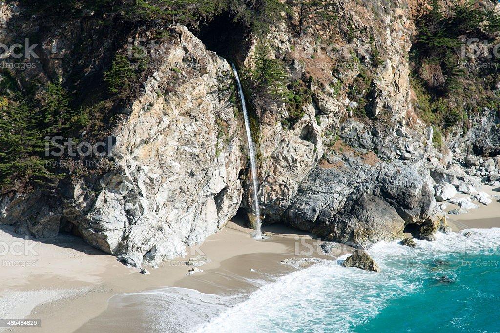 Waterfall in Big Sur California stock photo