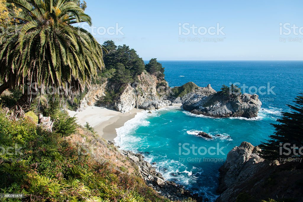 Waterfall in Big Sur California stock photo