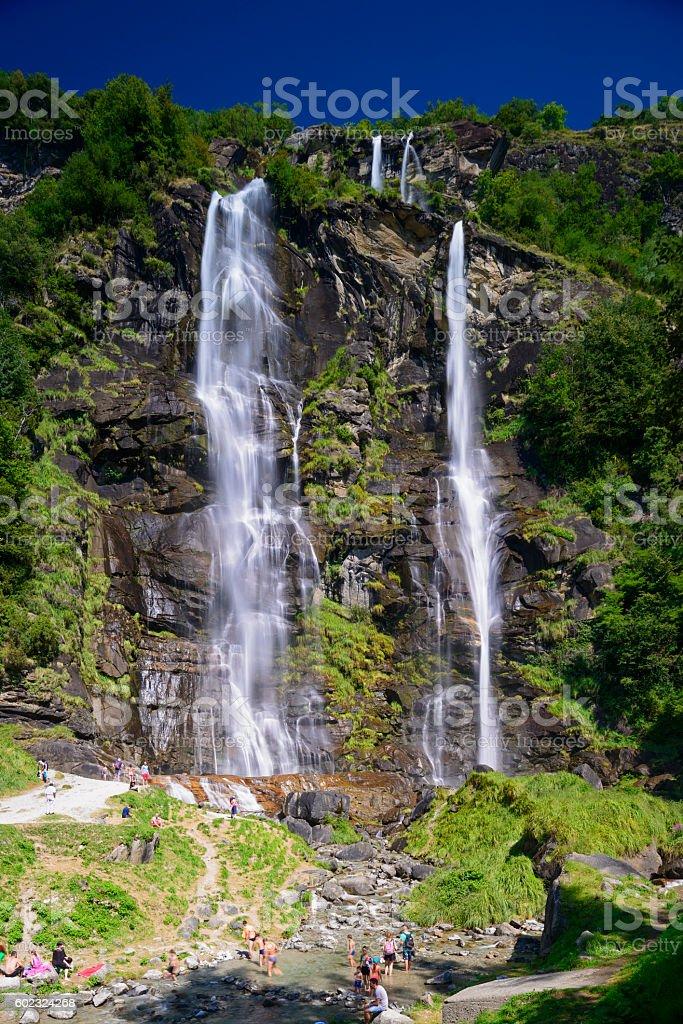 Waterfall in Chiavenna stock photo
