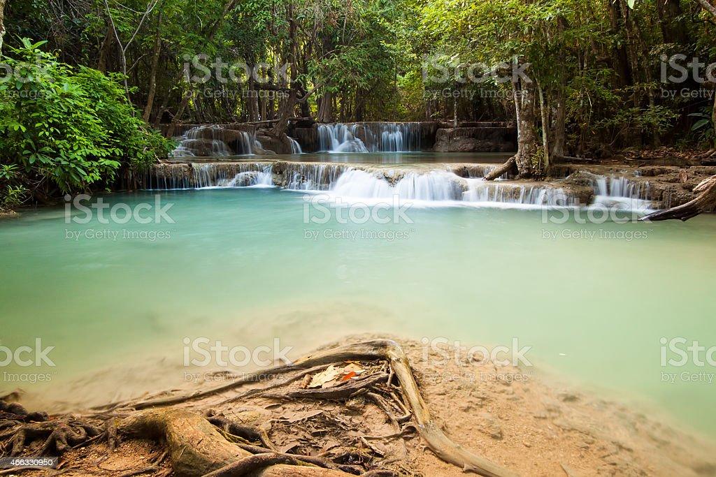 Waterfall in deep forest at huaymaekamin waterfall, Kanjanaburi, Thailand stock photo