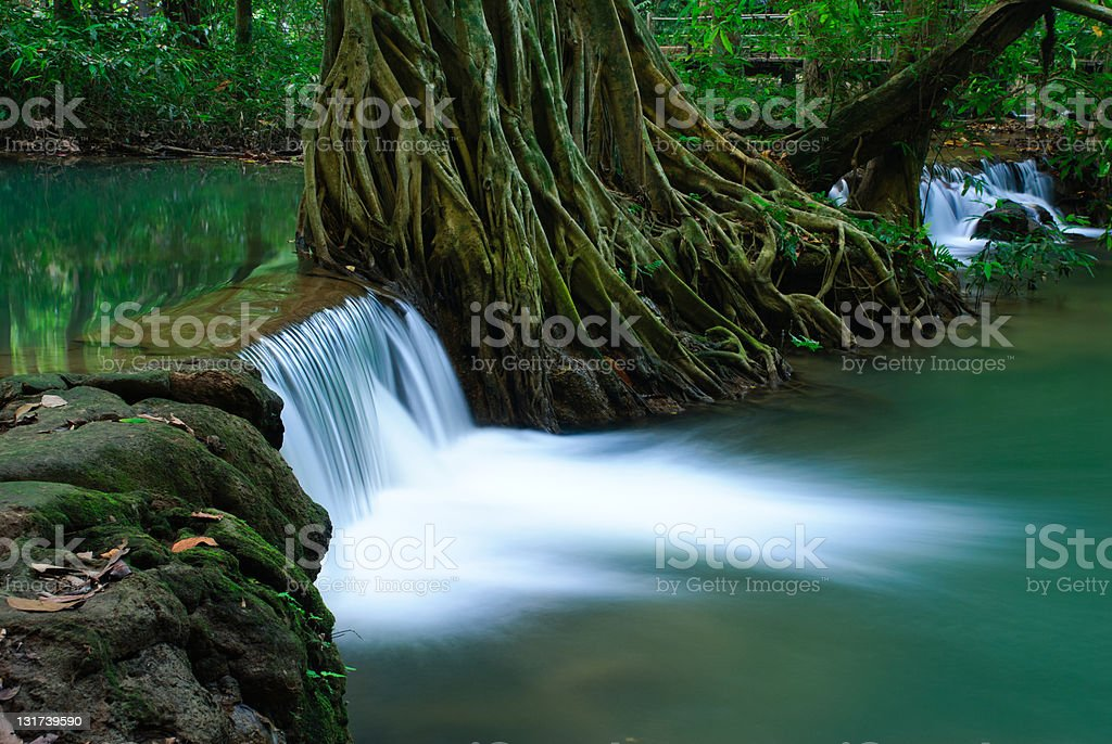 Waterfall in deep forest of Krabi,Thailand stock photo