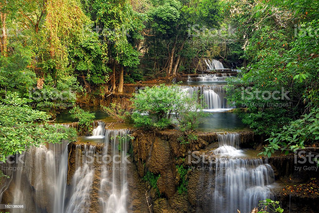 Waterfall in deep forest royalty-free stock photo