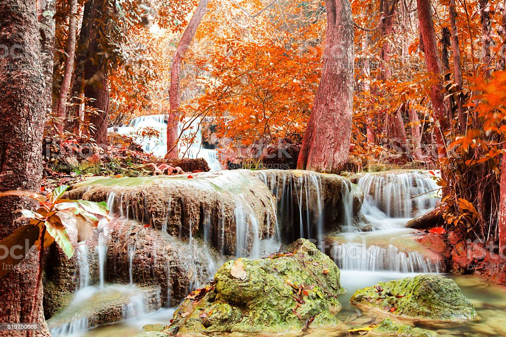 Waterfall in deep forest. stock photo