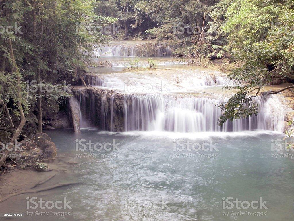 Waterfall in Erawan national park, Kanchanaburi ,Thailand royalty-free stock photo