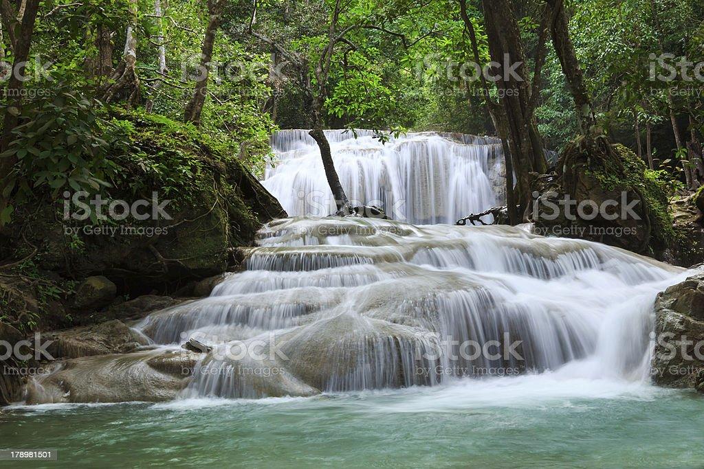 Waterfall in Erawan national park, level 1, Kanchanaburi royalty-free stock photo