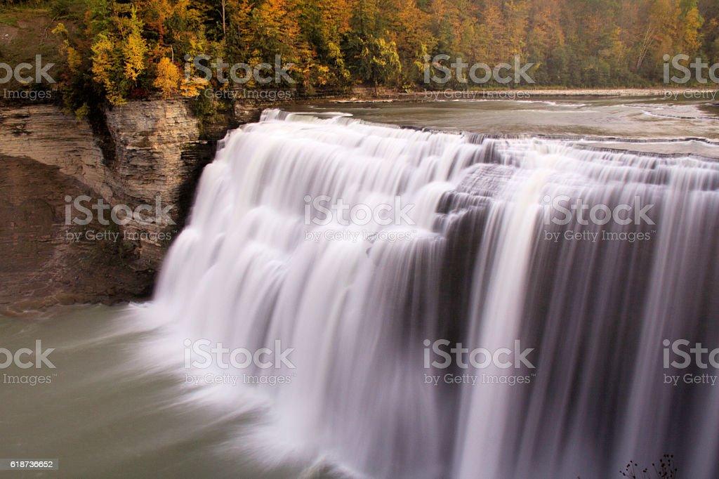 Waterfall in fall stock photo