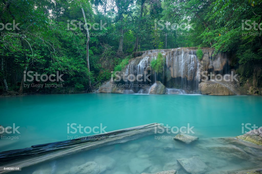 Waterfall in forest at Erawan waterfall National Park stock photo