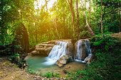 Waterfall in forest jungle. Hauy Rong Waterfall Phrae, Thailand.