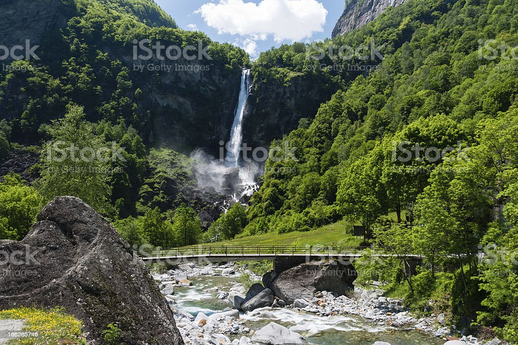 Waterfall in Foroglio, Ticino, Switzerland royalty-free stock photo