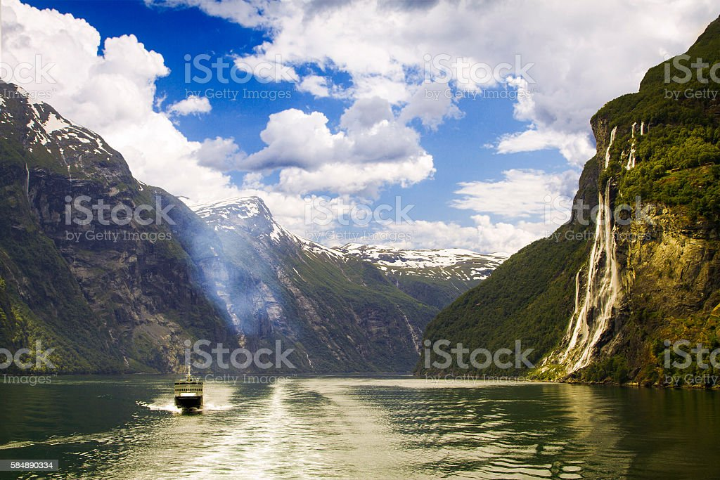 Waterfall in Geiranger fjord Norway stock photo