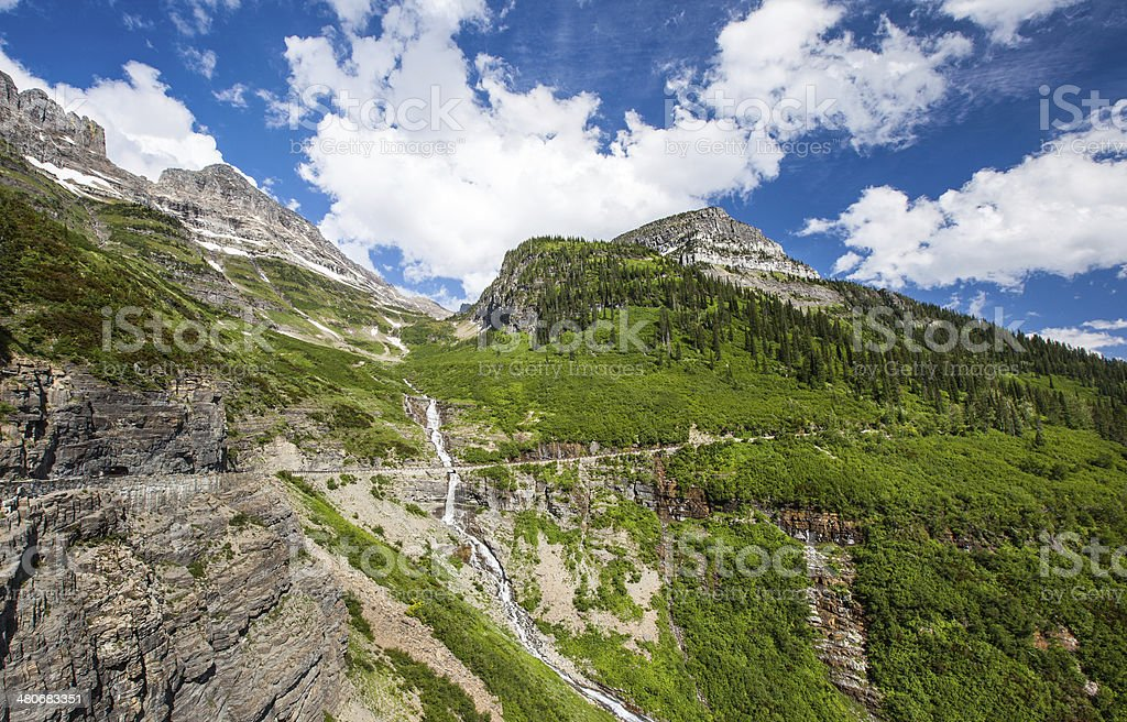 waterfall in Glacier national park stock photo