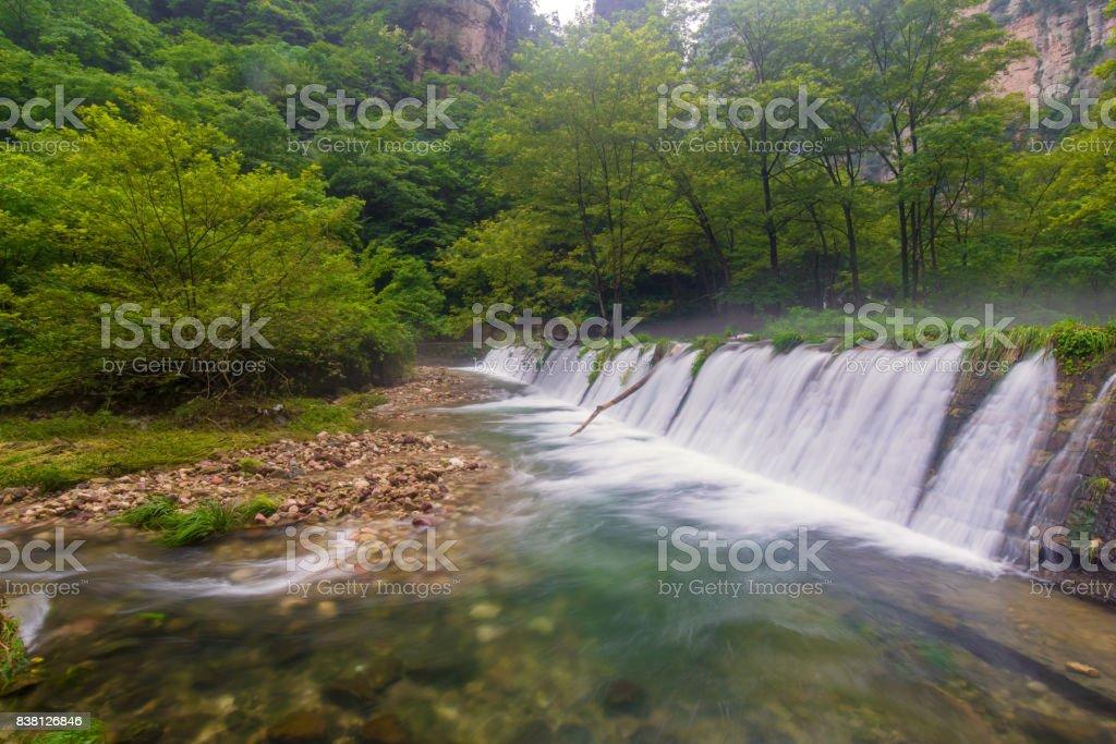 Waterfall in Golden whip stream at Zhangjiajie National Forest Park, Hunan, China stock photo