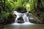 Waterfall in green jungle in Sangkhlaburi Thailand
