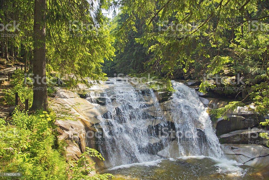 Waterfall in Harrachov royalty-free stock photo