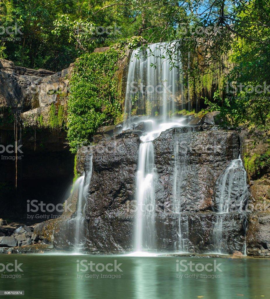 waterfall in island stock photo