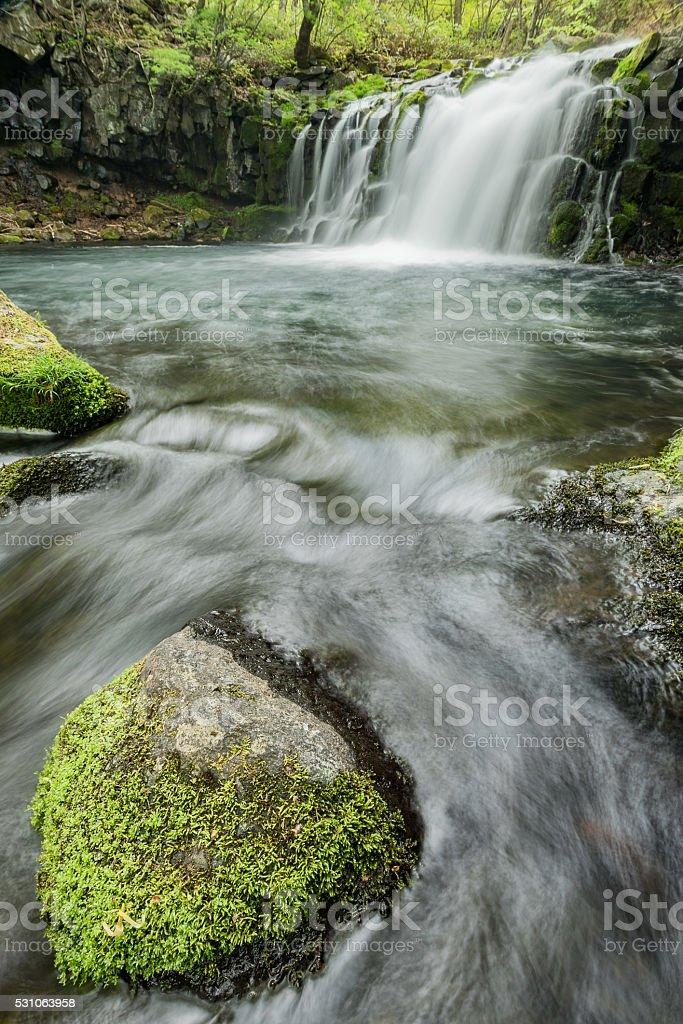 Waterfall in Japan stock photo