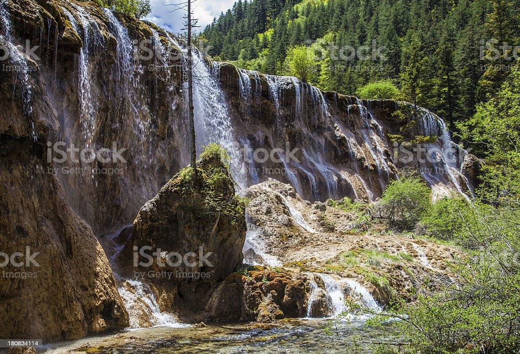Waterfall in Jiuzhaigou China stock photo