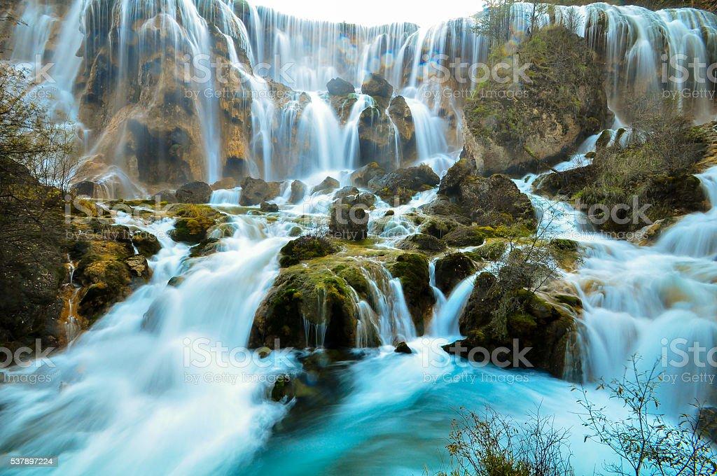 Waterfall in Jiuzhaigou national park, China stock photo