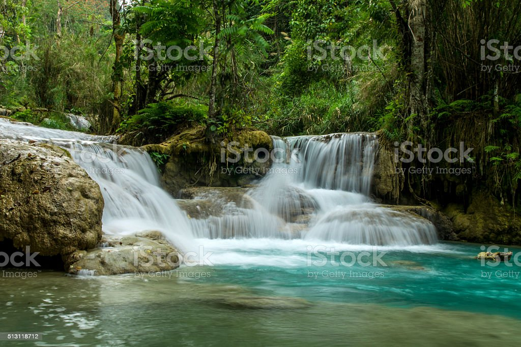 Waterfall in jungle stock photo