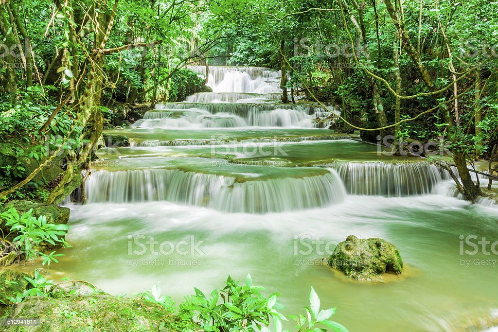 Waterfall in Kanchanaburi stock photo