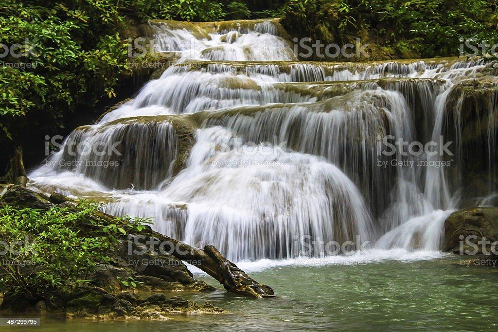 waterfall in Kanjanaburi Thailand stock photo
