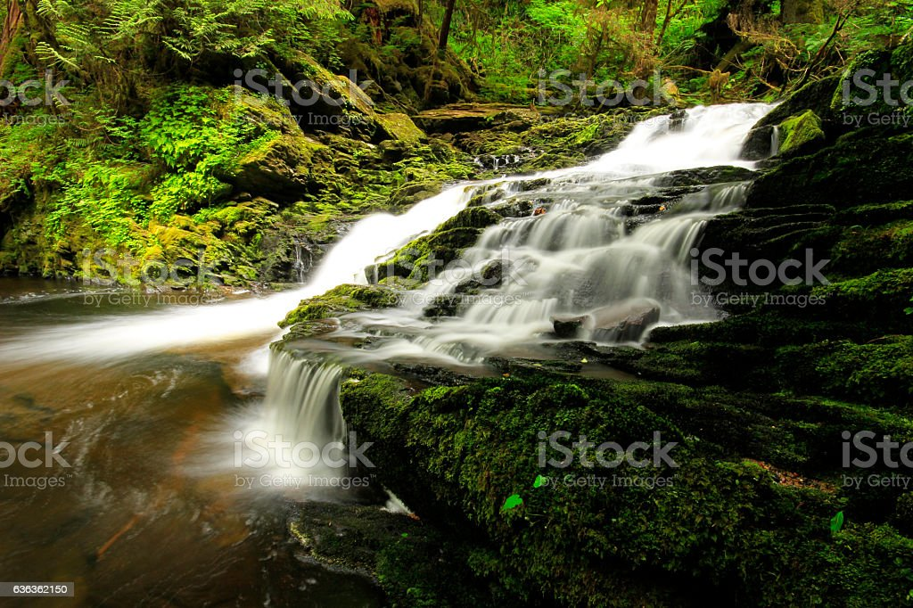 Waterfall in Ketchikan stock photo