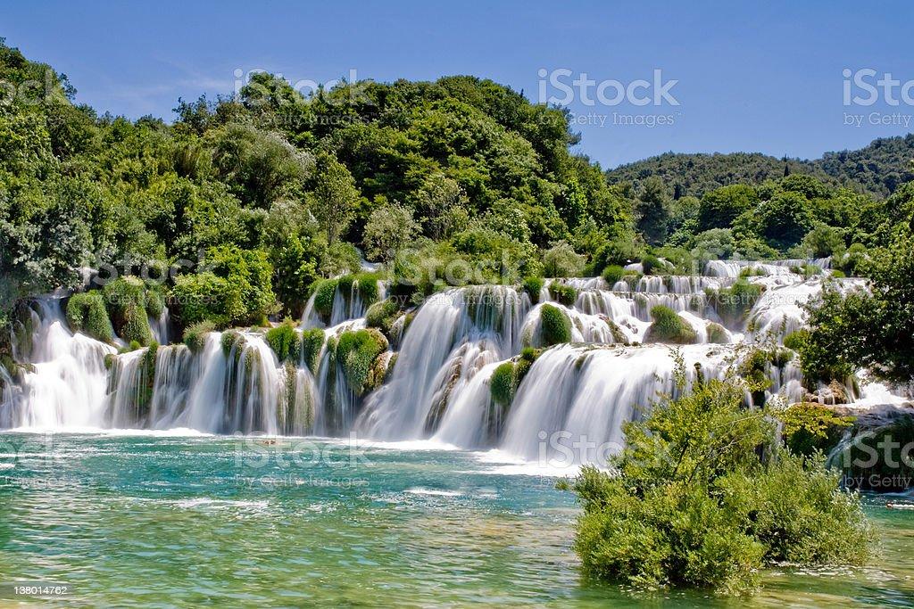 Waterfall in Krka national park, Croatia stock photo