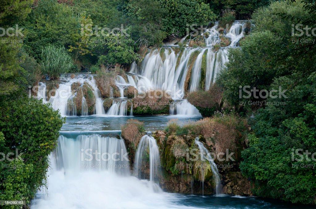 Waterfall in Krka National Park stock photo