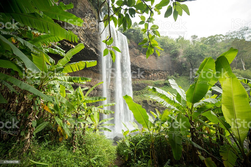 Waterfall in Laos, wet season and tropical climate, stock photo