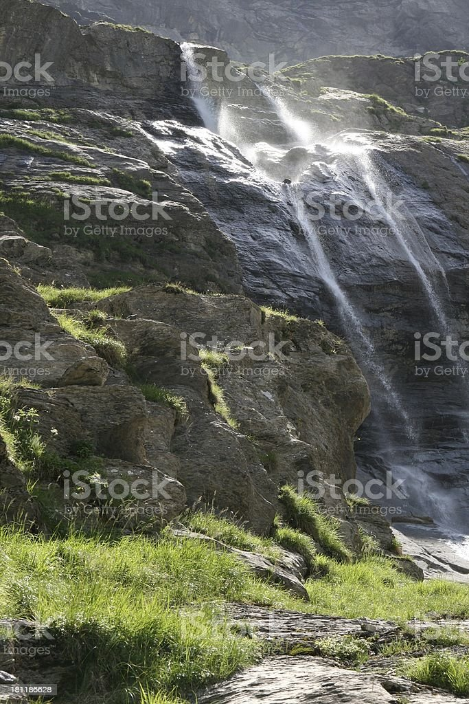 Waterfall in Les Diablerets area, Swiss Alps royalty-free stock photo
