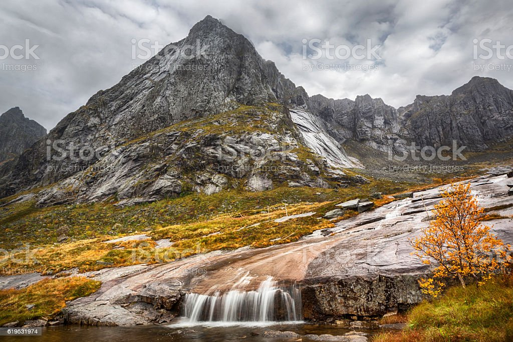 Waterfall in Lofoten, Norway stock photo