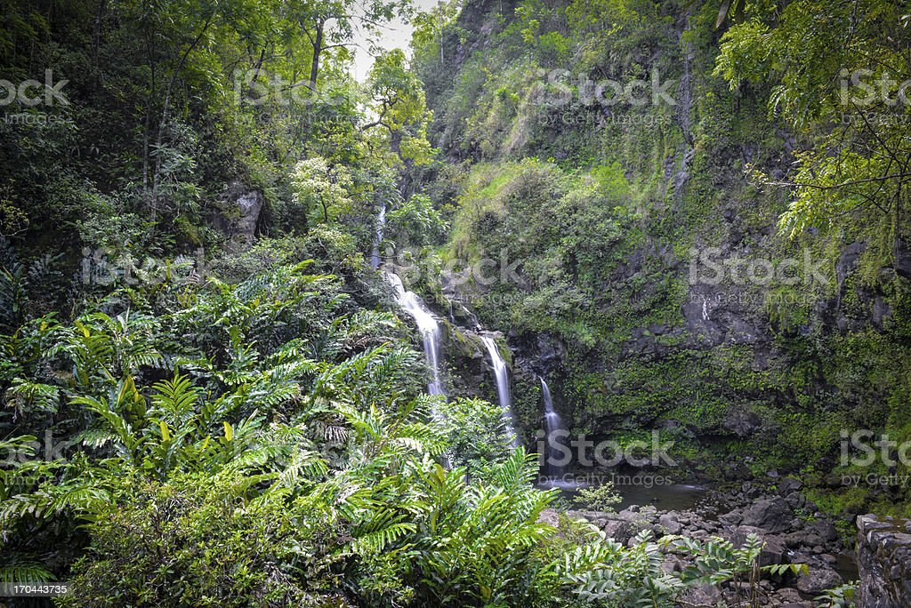 Waterfall in Maui Hawaii along the Road to Hana royalty-free stock photo