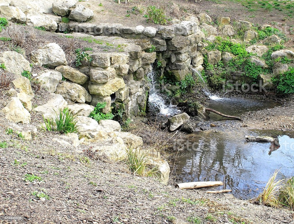 Waterfall in Mote Park stock photo