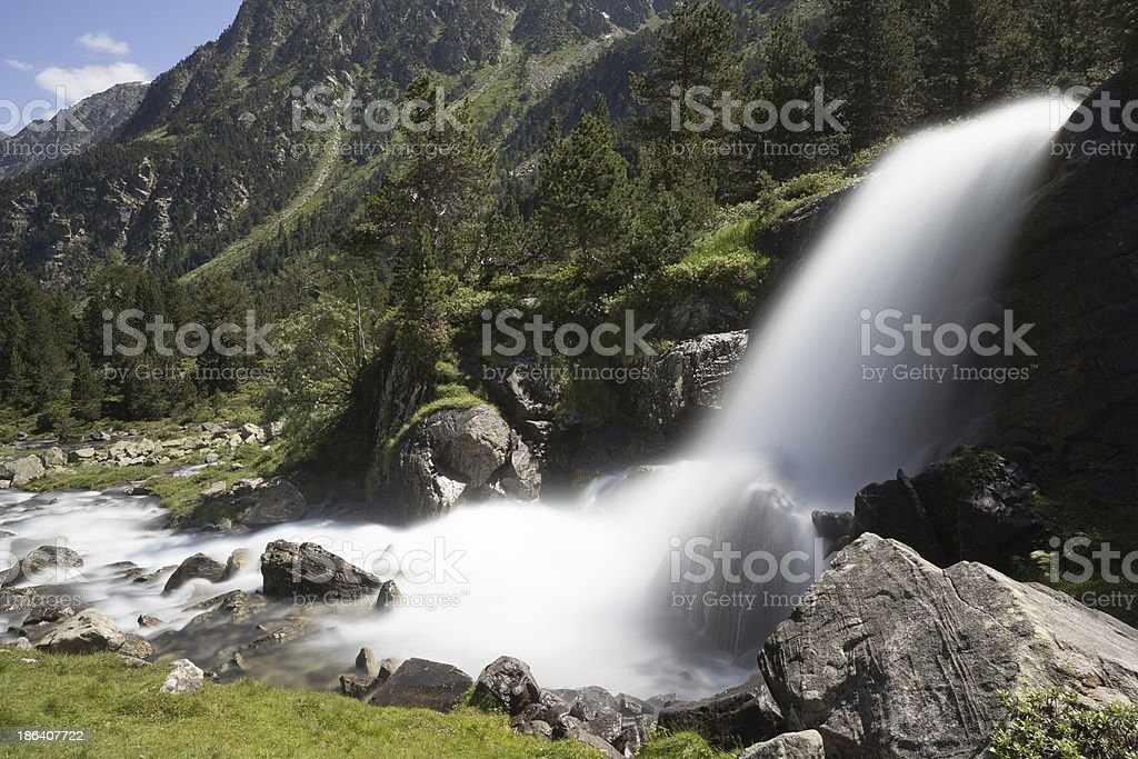 Waterfall in mountain, National park of pyrenees, France stock photo