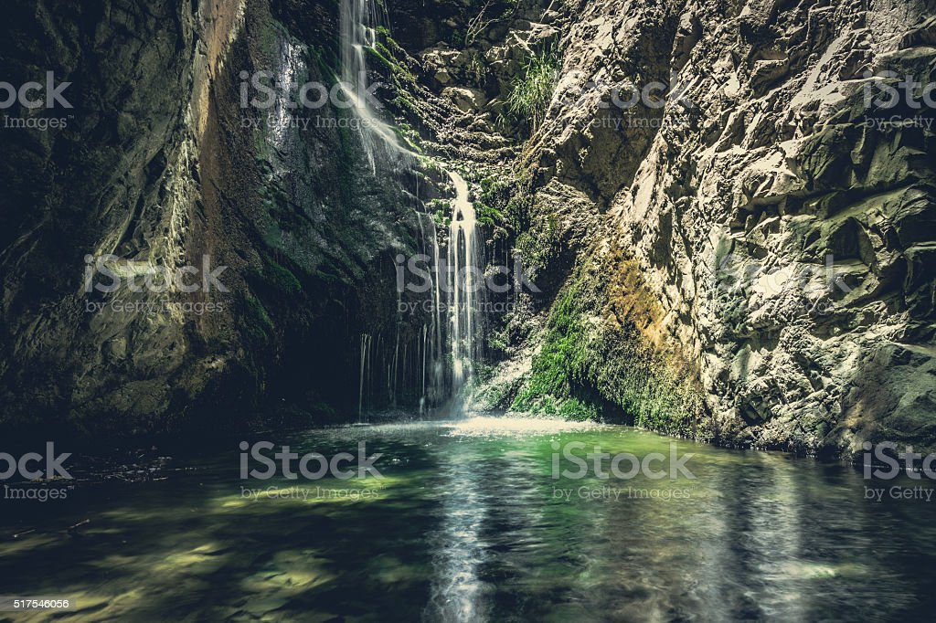 waterfall in mountains of troodos, Cyprus stock photo