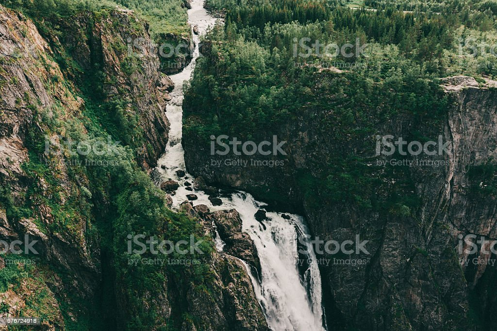 Waterfall in mountains stock photo