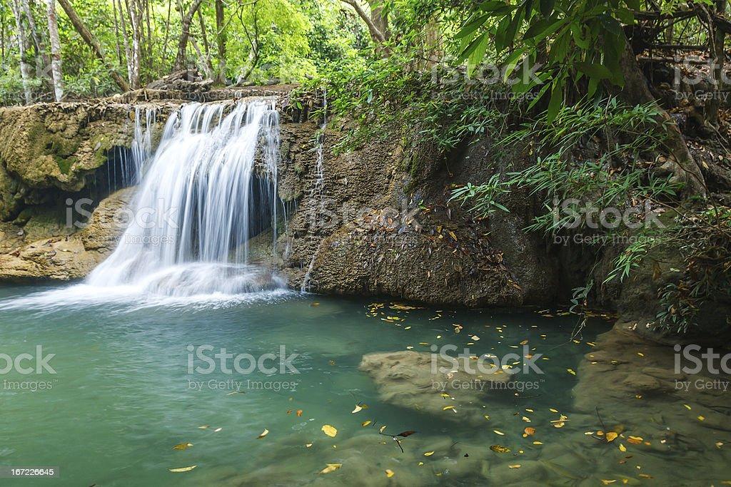 Waterfall in National Park , Kanchanaburi Province , Thailand royalty-free stock photo