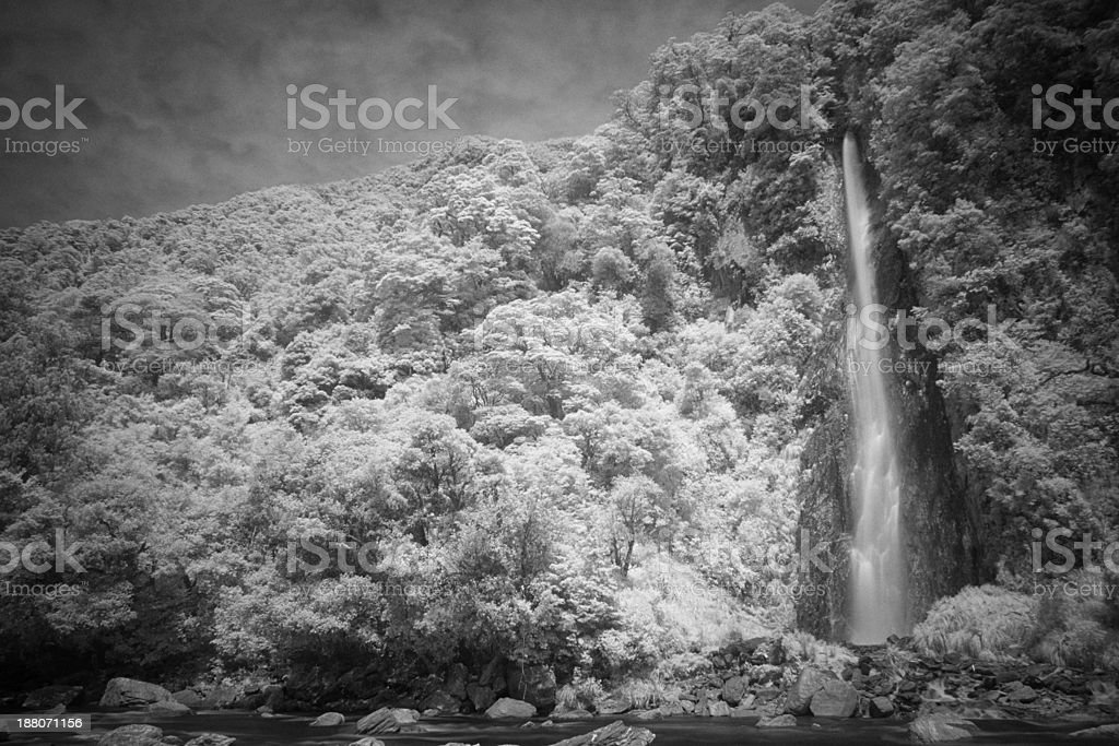 Waterfall In New Zealand stock photo
