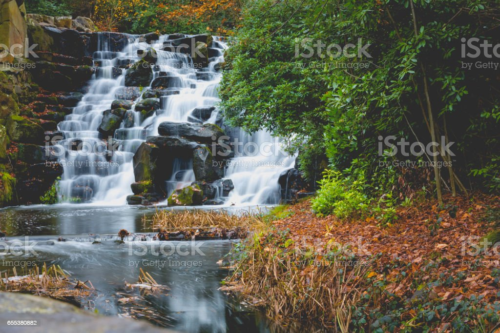 Waterfall in park ong exposure bmotion blur stock photo