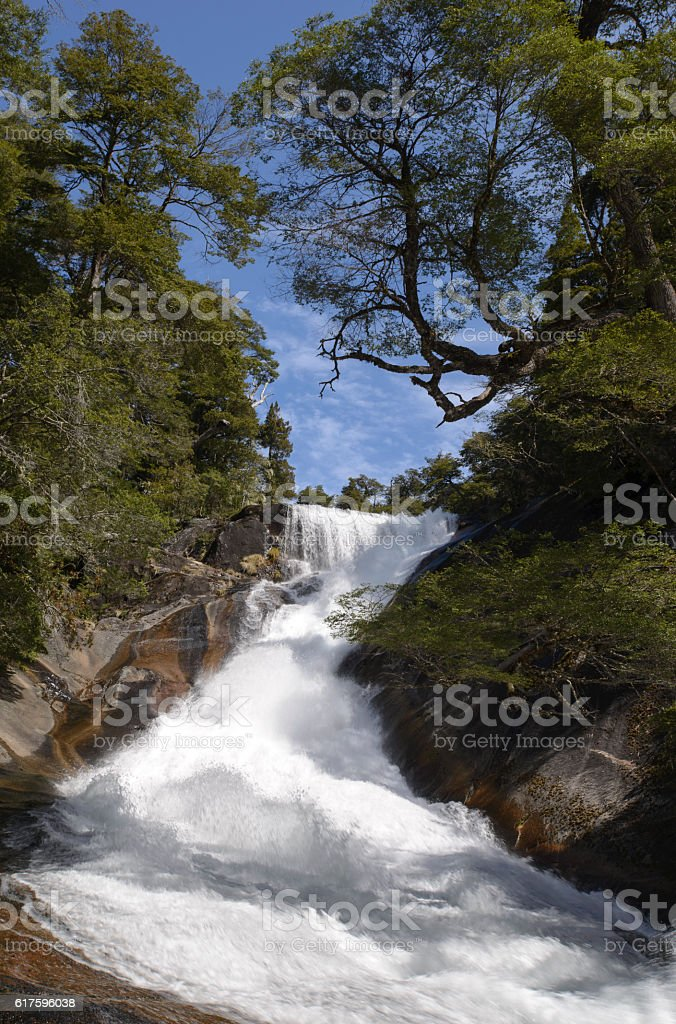 Waterfall in Patagonia stock photo