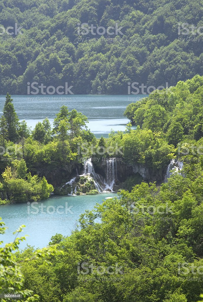 Waterfall in Plitvice lake (Plitvicka jezera) national park, Cro royalty-free stock photo