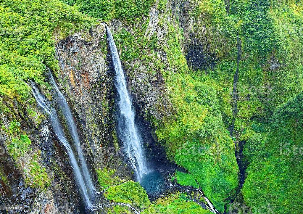 Waterfall in rainforest. stock photo