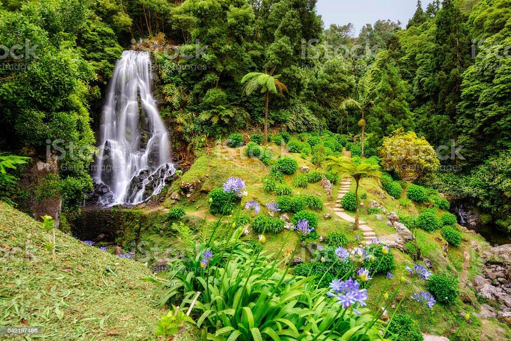 Waterfall in Ribeira dos Caldeiroes, Sao Miguel (Azores) stock photo