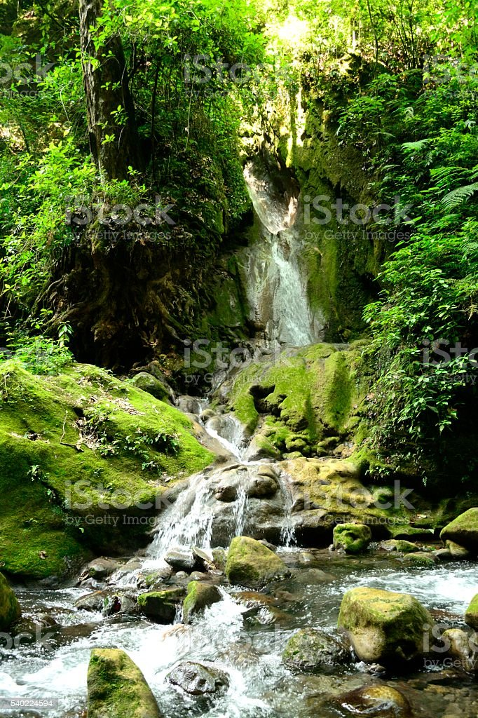Waterfall in Rio Escanela Queretaro Mexico stock photo